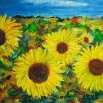 Landschaft mit Sonnenblumen, 80 x 60 Acryl auf Leinwand gespachtelt