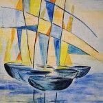 Segler abstrakt in Blau (Acryl auf Leinwand, Format 50 x 70) vergeben