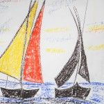 Segler Mittelmeer III, 50 x 60 Pastellkreide auf Papier