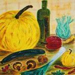 Stillleben Gemüse, 50 x 50 Acryl auf Leinwand