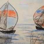 Segler Warnemünde II, 52 x 42 Pastellkreide auf Papier