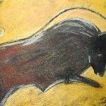 Torro, 70 x 50 Mischtechnik Kohle-Acryl auf Leinwand mit Blattgold