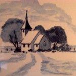 Kirche im Winter , 30 x 40 Aquarell