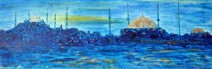 Istanbul ( Acryl mit Blattgold 20 x 60 )