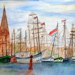 Segler im Stadthafen, 65 x 50 Aquarell auf Papier