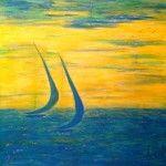 Sunrise (100 x 100 Acryl, Blattgold auf Leinwand)