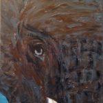 Elefant, 30 x 60 x 3,8 Acryl auf Leinwand, strukturiert, vergeben