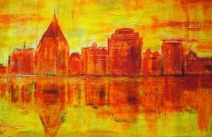 Rostock in Orange (Acryl auf Leinwand, Format 65 x 46, Schattenfugenrahmen helles Holz)