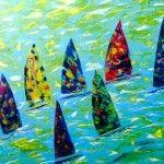 Sommerregatta, Acryl auf Leinwand; 120 x 100