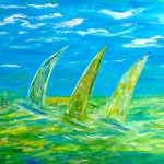 Speedsailing, 120 x 100 Acryl-Mischtechnik auf Leinwand