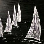 Dunkle Regatta, 120 x 100 Acryl auf Leinwand