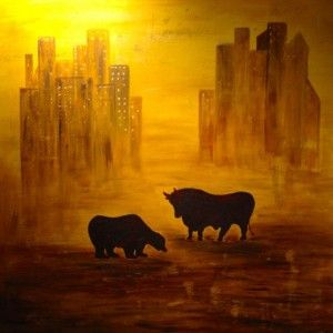 Bulle und Bär, 100 x 100 Acryl/Blattgold auf Leinwand