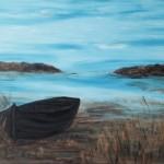 Boot am Bodden, 150 x 100 Acryl auf Leinwand