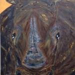 Willi das Nashorn, 30 x 60 Acryl auf Leinwand, strukturiert (vergeben)