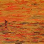 Wildes Meer in Orange; 100 x 50 Acryl auf Leinwand,