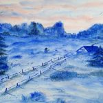Winterlandschaft, Aquarell, 40 x 30
