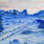 Winterlandschaft, Aquarell, 40 x 30