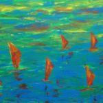 Surfparadies; 100 x 50 Acryl auf Leinwand, gespachtelt