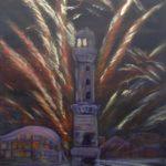 Leuchtturm in Flammen, 40 x 50, Mischtechnik auf Leinwand