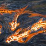 Koi´s; 80 x 40, Acryl auf Leinwand (verkauft)