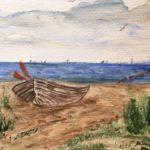 Boot am Strand, 20x 30 Aquarell auf Papier