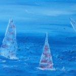Segel im Wind, Acryl auf Leinwand, strukturiert, 60 x 20