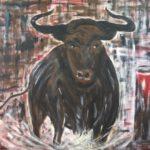 Stier, 120 x 100, Acryl strukturiert auf Leinwand