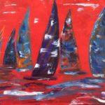 Segler in ROT, 50 x 40 Acryl auf Leinwand, gespachtelt
