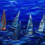 Race, Acryl auf Leinwand, 140 x 70 x 3,5 gespachtelt