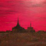 Rostock Blick von Osten, 140 x 70 x 3,5 Acryl auf Leinwand