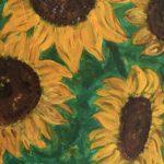 Sonnenblumen, 30 x 60 x3,5, Acryl auf Leinwand, gespachtelt