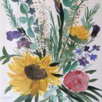 Blumenstrauß, Aquarell auf Karton