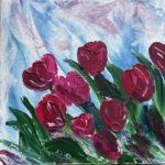 Tulpen rot; 30 x 30 x3,5 auf Leinwand gespachtelt
