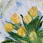 Tulpen, 30 x 30 x 3,5 ; Acryl auf Leinwand gespachtelt